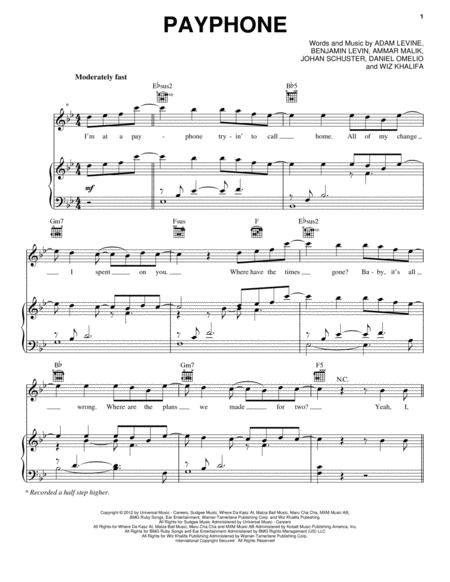 Download Payphone Sheet Music By Maroon 5 Sheet Music Plus