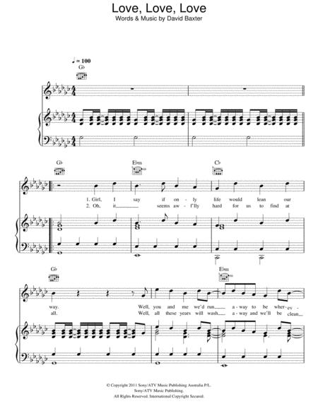 Download Love, Love, Love Sheet Music By Avalanche City - Sheet ...
