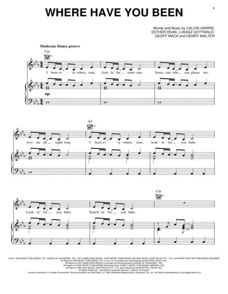 Download Where Have You Been Sheet Music By Rihanna - Sheet Music Plus