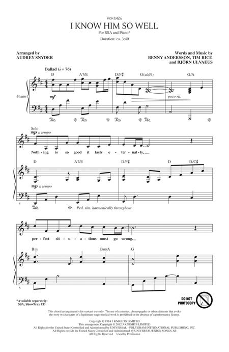 I Know Him So Well (from Chess) (arr. Audrey Snyder)