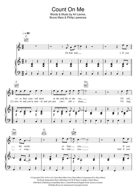 Preview Count On Me By Bruno Mars (HX 235053) - Sheet Music Plus