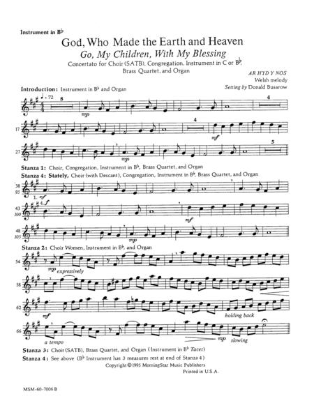 Go, My Children, with My Blessing God, Who Made the Earth and Heaven (Instrumental Parts)