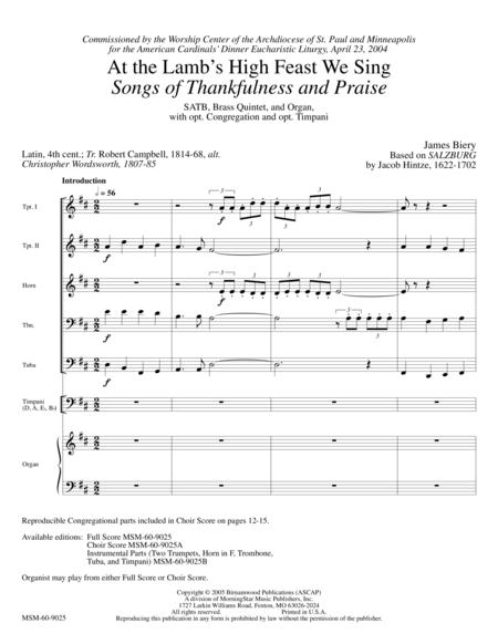 At the Lamb's High Feast We Sing Songs of Thankfulness and Praise (Full Score)