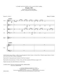 Psalm 100 (Full Score and Instrumental Parts)