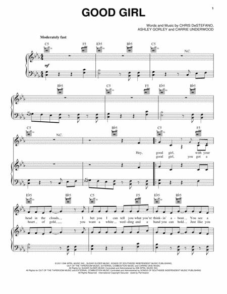 Download Good Girl Sheet Music By Carrie Underwood - Sheet Music Plus