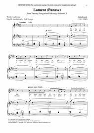 Lament (Panasz) (from Twenty Hungarian Folksongs Vol. 3)