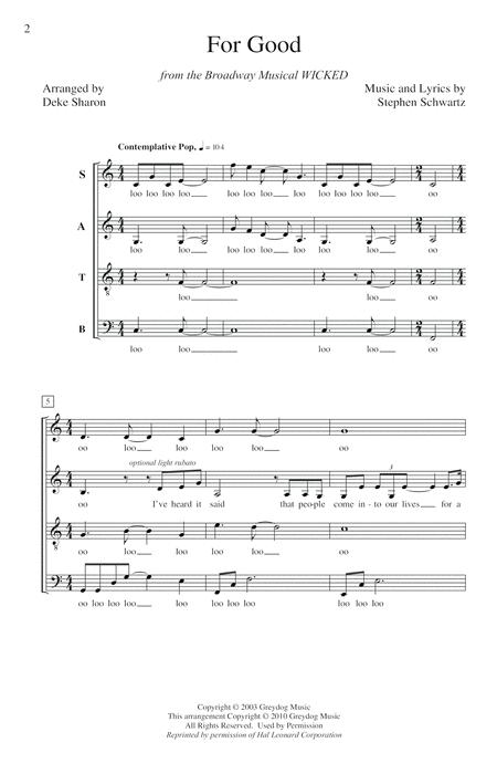 For Good (from Wicked) (arr. Deke Sharon)