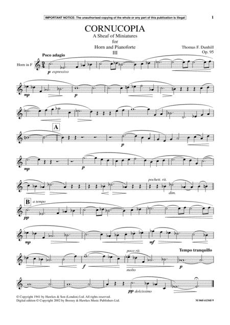 Cornucopia- A Sheaf Of Miniatures For Horn And Pianoforte (III)