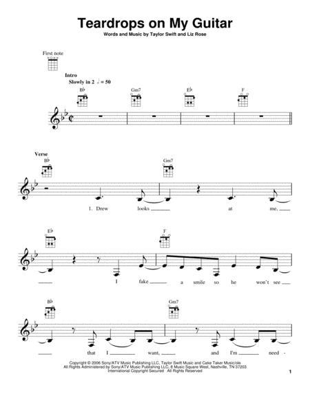 Download Teardrops On My Guitar Sheet Music By Taylor Swift - Sheet ...