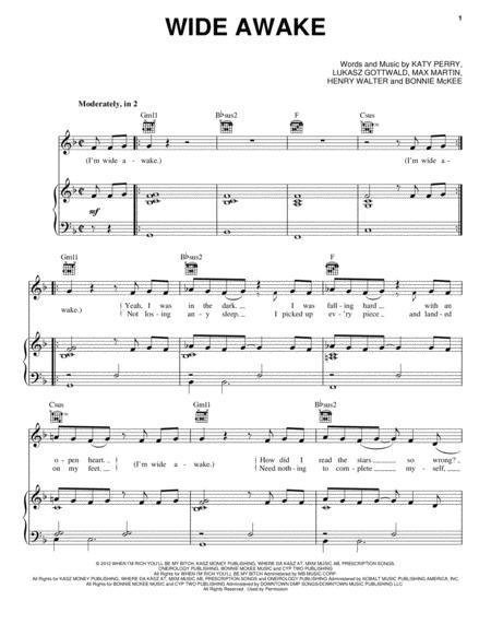 Download Wide Awake Sheet Music By Max Martin Sheet Music Plus