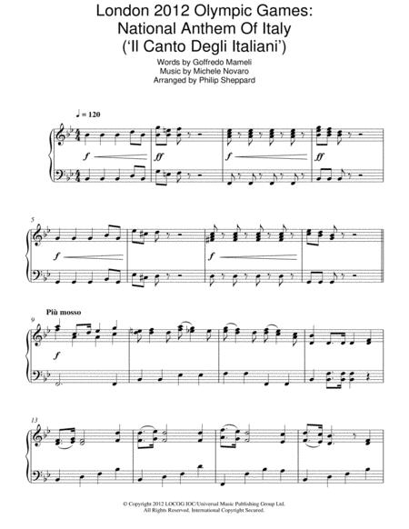 London 2012 Olympic Games: National Anthem Of Italy ('Il Canto Degli Italiani')