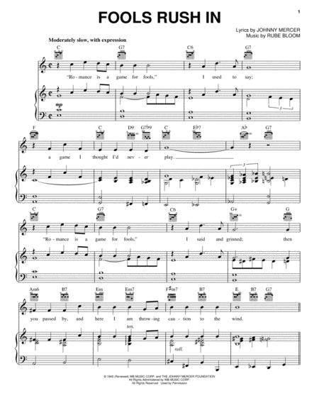 Download Fools Rush In Sheet Music By Frank Sinatra Sheet Music Plus