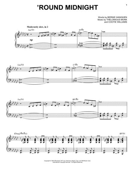 Download Round Midnight Sheet Music By Thelonious Monk Sheet