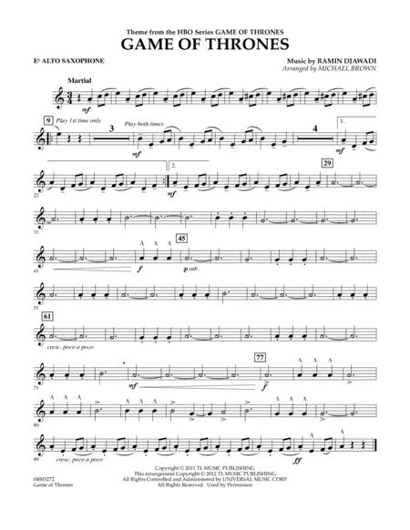 Download Game Of Thrones Eb Alto Saxophone Sheet Music By Game Of