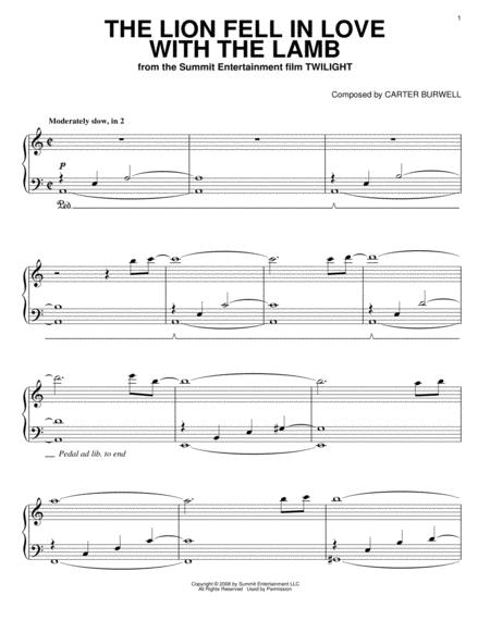 Download The Lion Fell In Love With The Lamb Sheet Music By Twilight ...