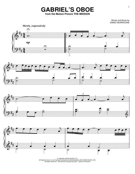Download Gabriel S Oboe Sheet Music By Ennio Morricone Sheet Music Plus