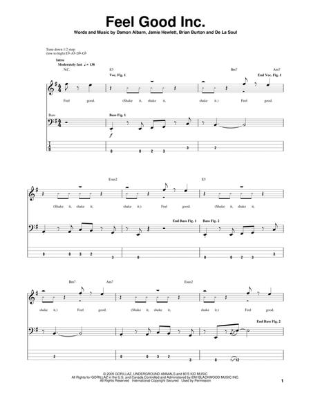 strawberry letter 23 bass tabs feel inc sheet by gorillaz sheet 14263