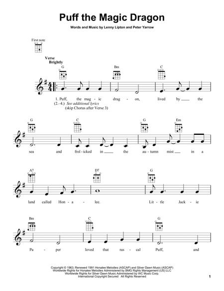 Download Puff The Magic Dragon Sheet Music By Peter Paul And Mary