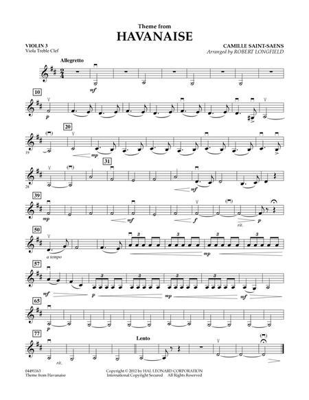Theme From Havanaise - Violin 3 (Viola Treble Clef)