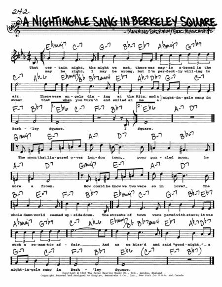 a nightingale sang in berkeley square sheet music free