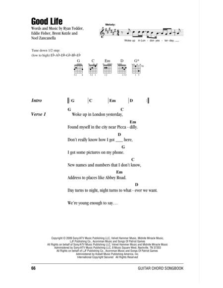 Download Good Life Sheet Music By OneRepublic - Sheet Music Plus