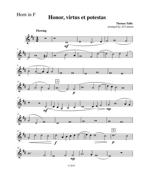 Honor, virtus et potestas (Thomas Tallis for Brass Quintet)