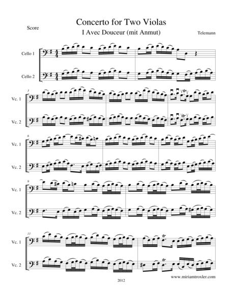 Concerto for Two Violas in G Major, transcription for cellos