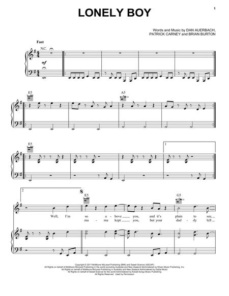 Download Lonely Boy Sheet Music By The Black Keys - Sheet Music Plus