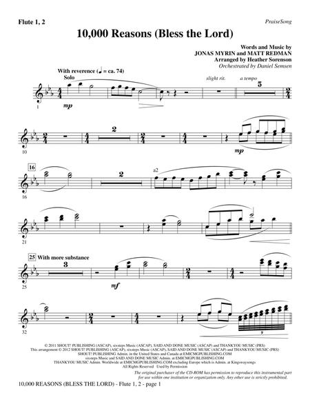 Download 10,000 Reasons (Bless The Lord) - Flute 1 & 2 Sheet Music ...