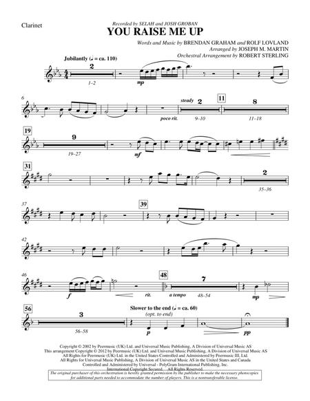 Download You Raise Me Up Clarinet Sheet Music By Josh Groban