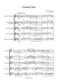 Coventry Carol - Jazz Carol for Saxophone Quartet