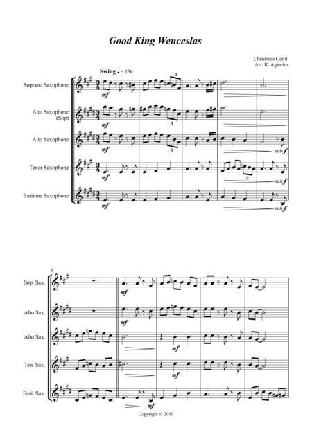 Good King Wenceslas - Jazz Carol for Saxophone Quartet