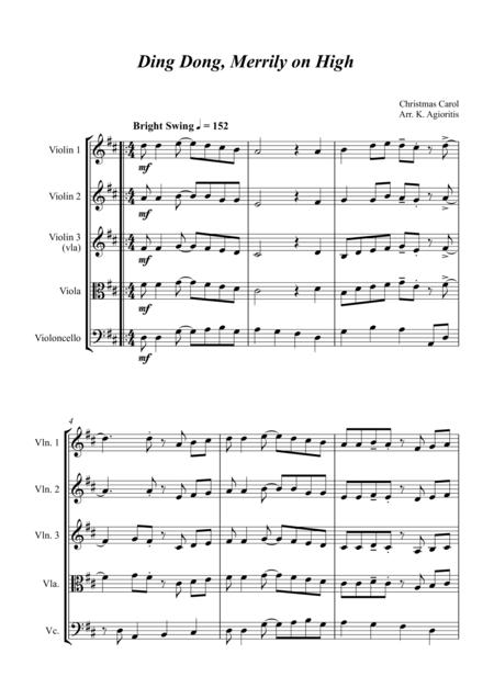 Ding Dong Merrily on High - Jazz Carol for String Quartet