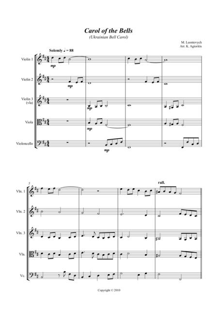 Carol of the Bells (Ukrainian Bell Carol) - Jazz Arrangement for String Quartet