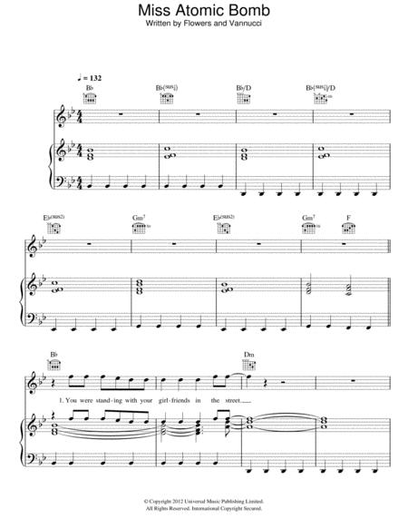 Download Miss Atomic Bomb Sheet Music By The Killers - Sheet Music Plus
