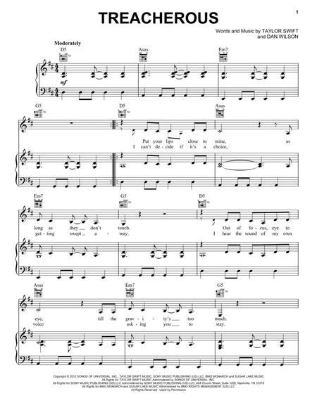 Download Treacherous Sheet Music By Taylor Swift Sheet Music Plus