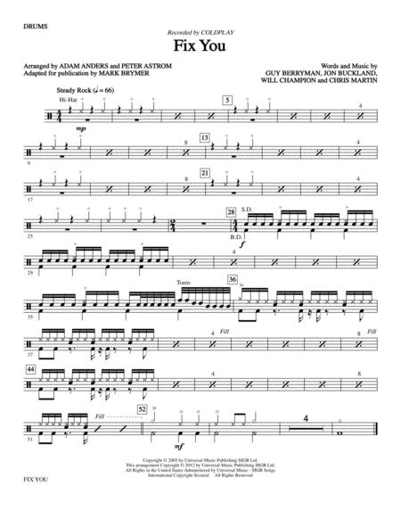Download Fix You - Drums Sheet Music By Glee Cast - Sheet