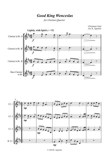 Good King Wenceslas - for Clarinet Quartet
