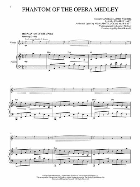 Phantom Of The Opera Medley Sheet Music Violin idea gallery