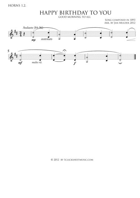 Download Happy Birthday - Horns 1 2 Sheet Music By