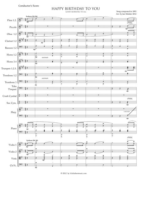 Download Happy Birthday Conductor S Score Symphony