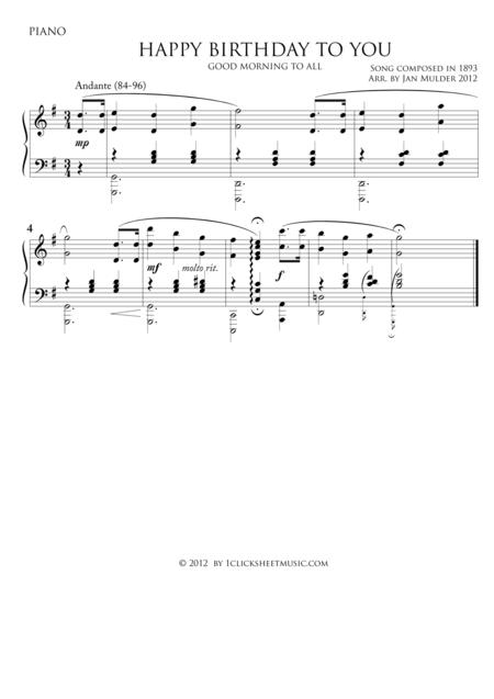 Download Happy Birthday Piano Sheet Music By Traditional Sheet