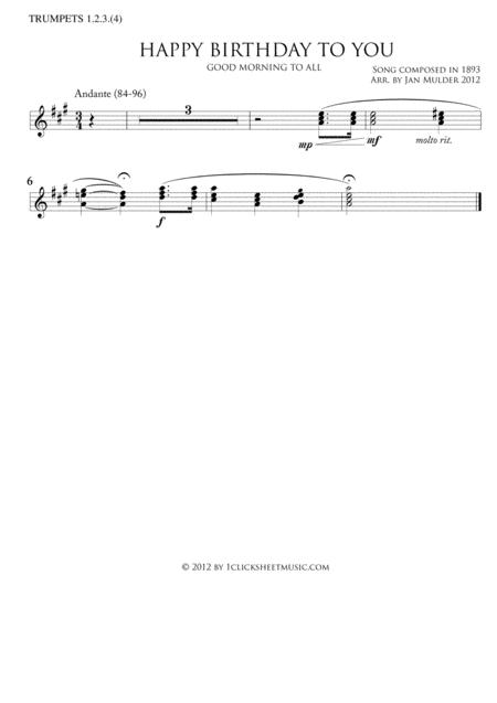 Download Happy Birthday - Trumpets 1,2,3,(4) Sheet Music By