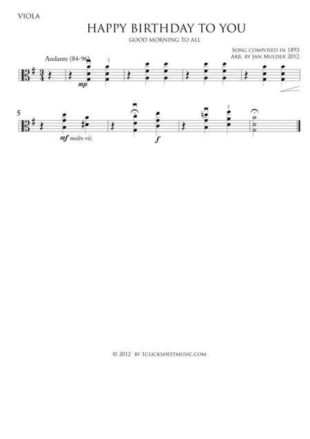 Happy Birthday By Traditional Digital Sheet Music For Viola Part Download Print J2 6547 Sheet Music Plus