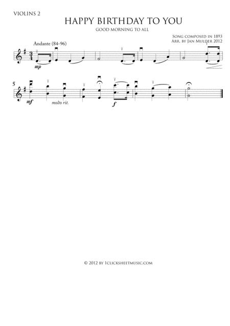 Happy Birthday - Violins 2