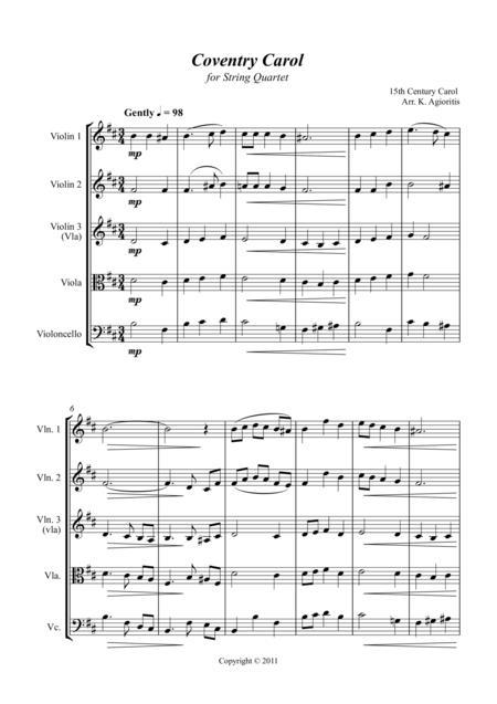 Coventry Carol - Jazz Carol for String Quartet