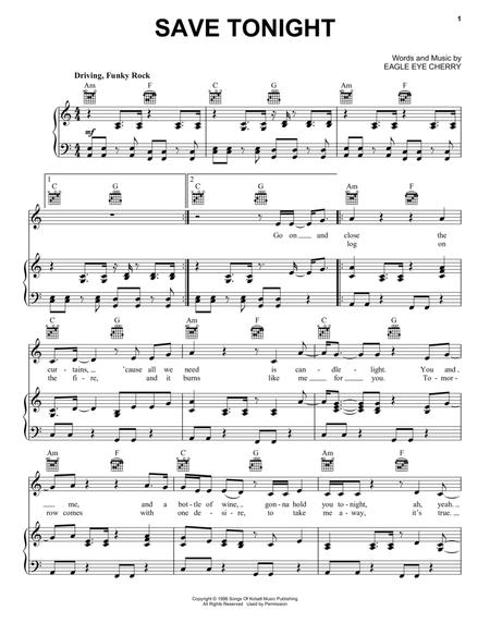 Download Save Tonight Sheet Music By Eagle Eye Cherry - Sheet Music Plus