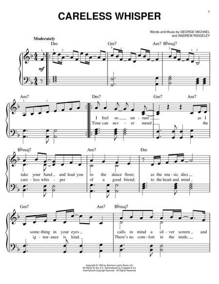 "Wham! ""careless whisper"" sheet music (alto saxophone solo."