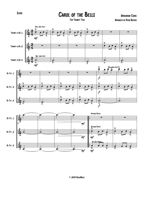 Carol of the Bells (for Trumpet Trio)