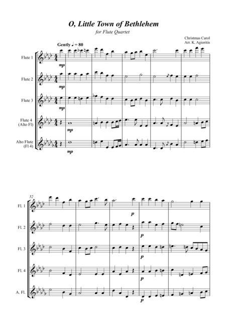 O Little Town of Bethlehem - Jazz Carol for Flute Quartet